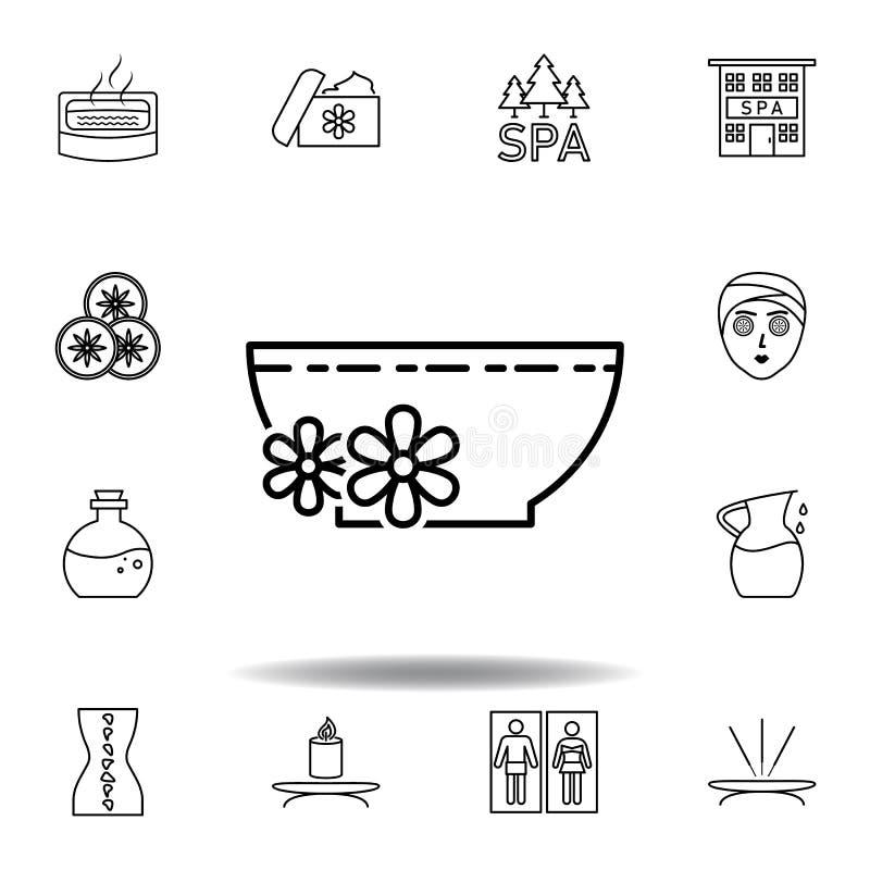 Fiori che galleggiano sul liquido dentro l'icona del profilo della ciotola Insieme dettagliato della stazione termale e rilassars illustrazione di stock
