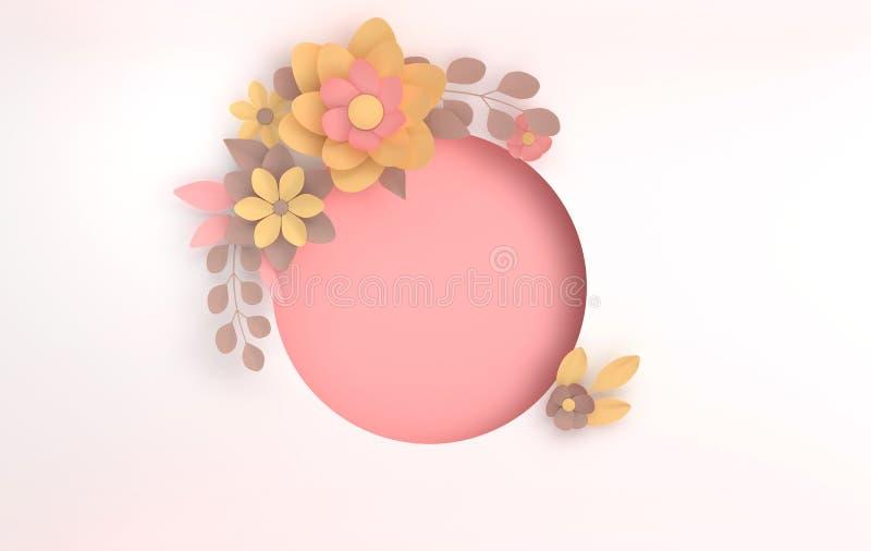 Fiori colorati pastelli eleganti di carta su fondo bianco San Valentino, Pasqua, festa della mamma, cartolina d'auguri di nozze r royalty illustrazione gratis
