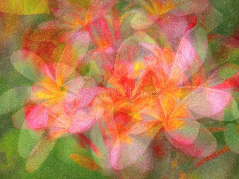 Fiori Colourful, stile astratto della pittura a olio fotografie stock libere da diritti