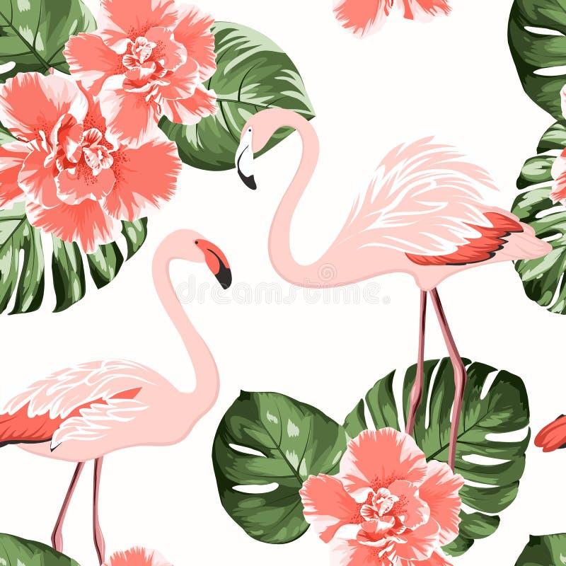 Fiori cremisi luminosi di camelia, uccelli rosa esotici del fenicottero, modello senza cuciture di monstera delle foglie verdi tr illustrazione vettoriale