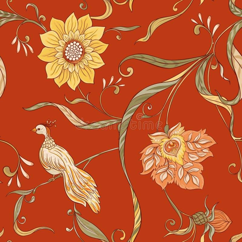 Fiori d'annata ed uccelli modello senza cuciture, fondo illustrazione di stock