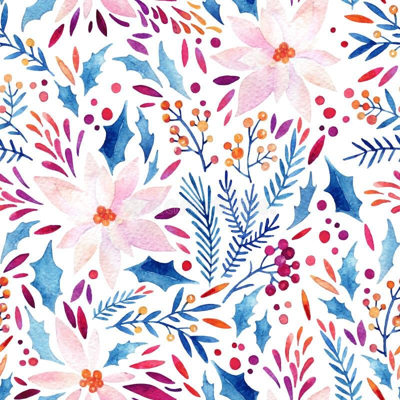 Fiori decorati dell'acquerello, agrifoglio, semi, modello senza cuciture dei ramoscelli dell'pelliccia-albero royalty illustrazione gratis