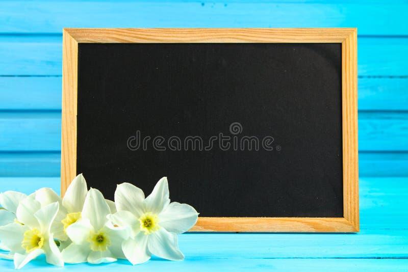 Fiori dei narcisi ed etichetta in bianco della lavagna su fondo di legno, spazio della copia fotografia stock libera da diritti