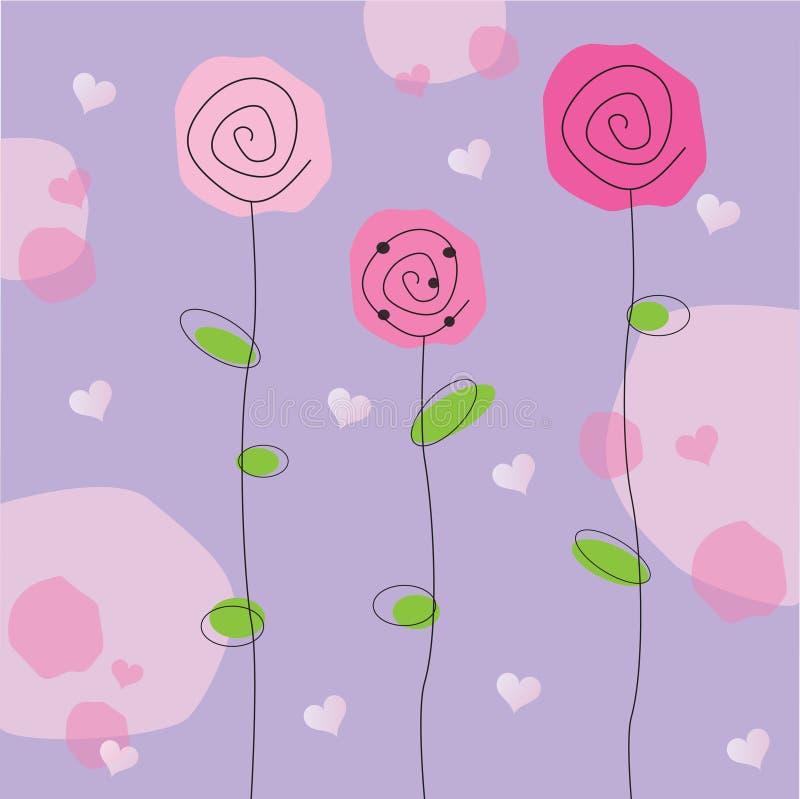 Fiori del biglietto di S. Valentino illustrazione di stock