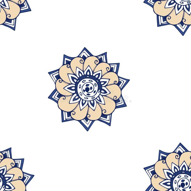 Fiori del blu di frattale Un'illustrazione luminosa elegante con i fiori Modello per progettazione di tessuto, carte da parati Su illustrazione di stock