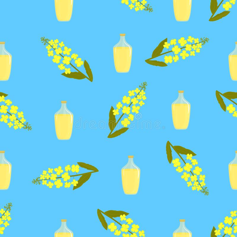 Fiori del canola e bottiglia gialli di olio Modello senza cuciture della pianta del seme di ravizzone illustrazione di stock