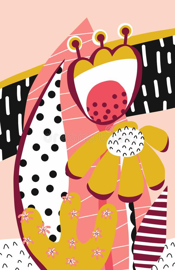 Fiori del collage nel rosa, in oro, nel bianco e nel nero Floreale astratto royalty illustrazione gratis