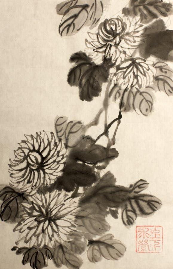 Fiori del crisantemo dipinti nello stile cinese illustrazione vettoriale
