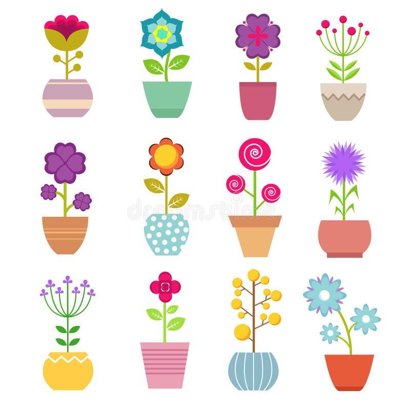 Fiori del giardino di estate in vaso Bei tulipani gialli e rossi, rose e piante verdi con i rami in vaso floreale illustrazione di stock