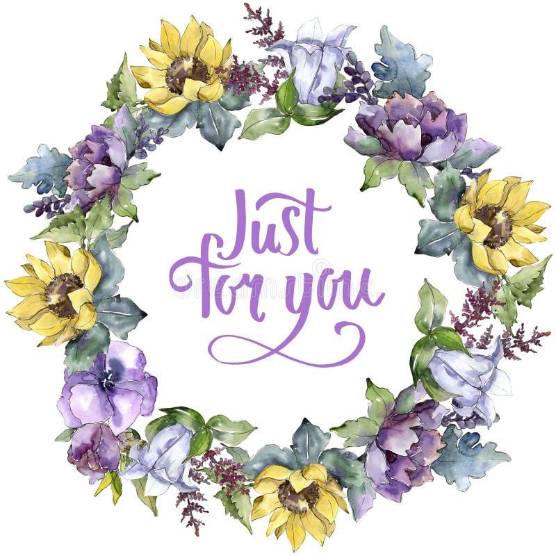Fiori del mazzo dell'acquerello Fiore botanico floreale Quadrato dell'ornamento del confine della pagina royalty illustrazione gratis