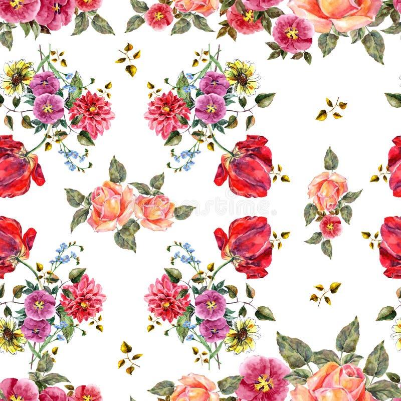 Fiori del mazzo dell'acquerello su un fondo bianco Reticolo senza giunte floreale illustrazione di stock