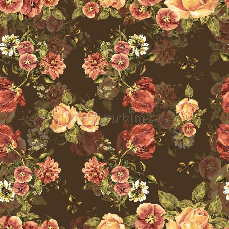 Fiori del mazzo dell'acquerello su un fondo marrone Reticolo senza giunte floreale illustrazione di stock