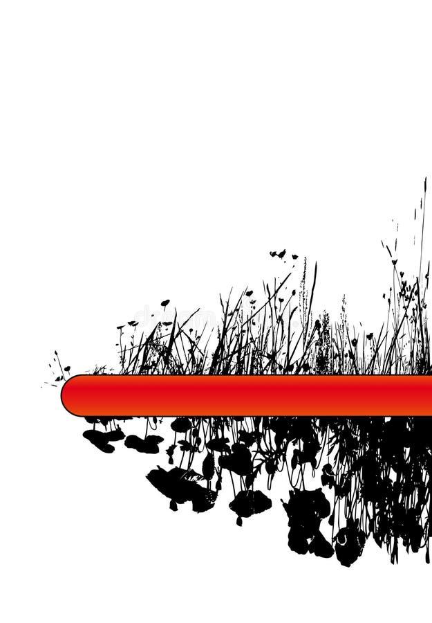 Fiori del papavero e dell'erba. Vettore illustrazione di stock