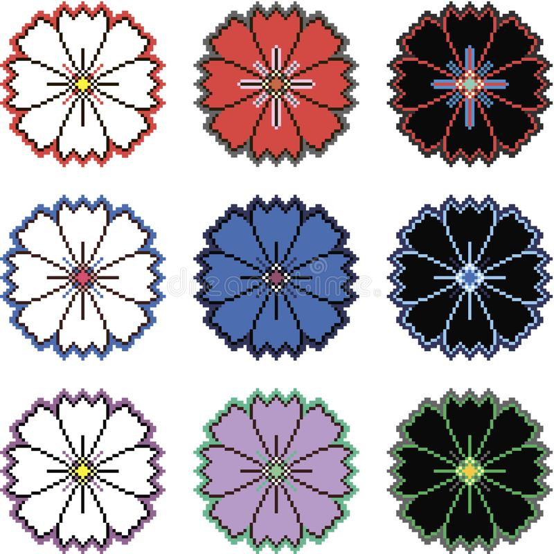Fiori del pixel nelle variazioni differenti di colore fotografia stock libera da diritti