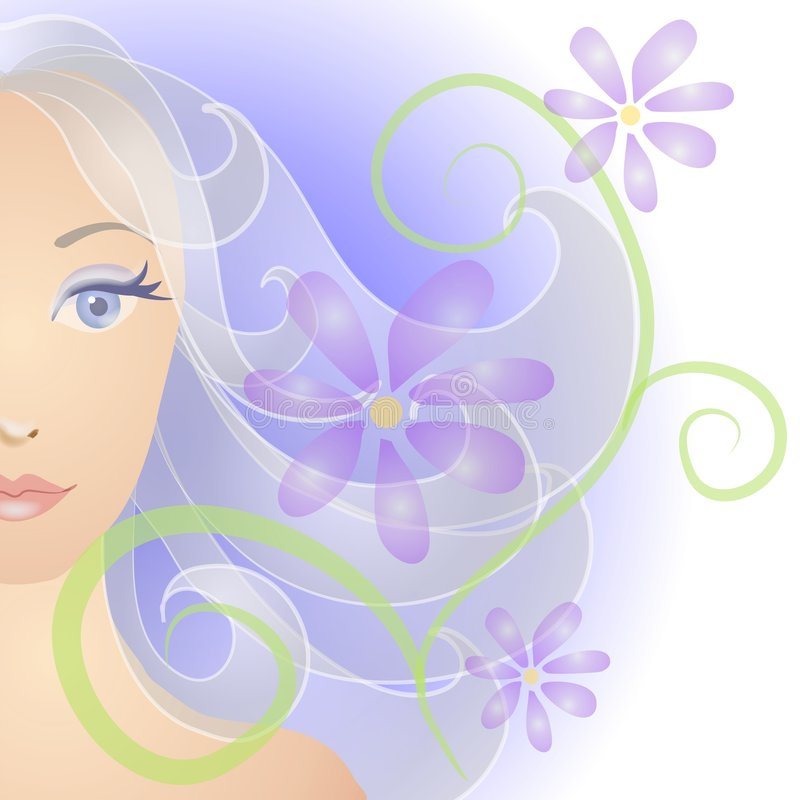 Fiori del ritratto del fronte della donna illustrazione di stock