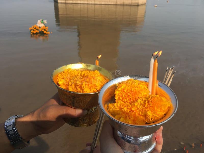 Fiori del tagete in tazza da galleggiare nel festival di Loy Krathong fotografia stock