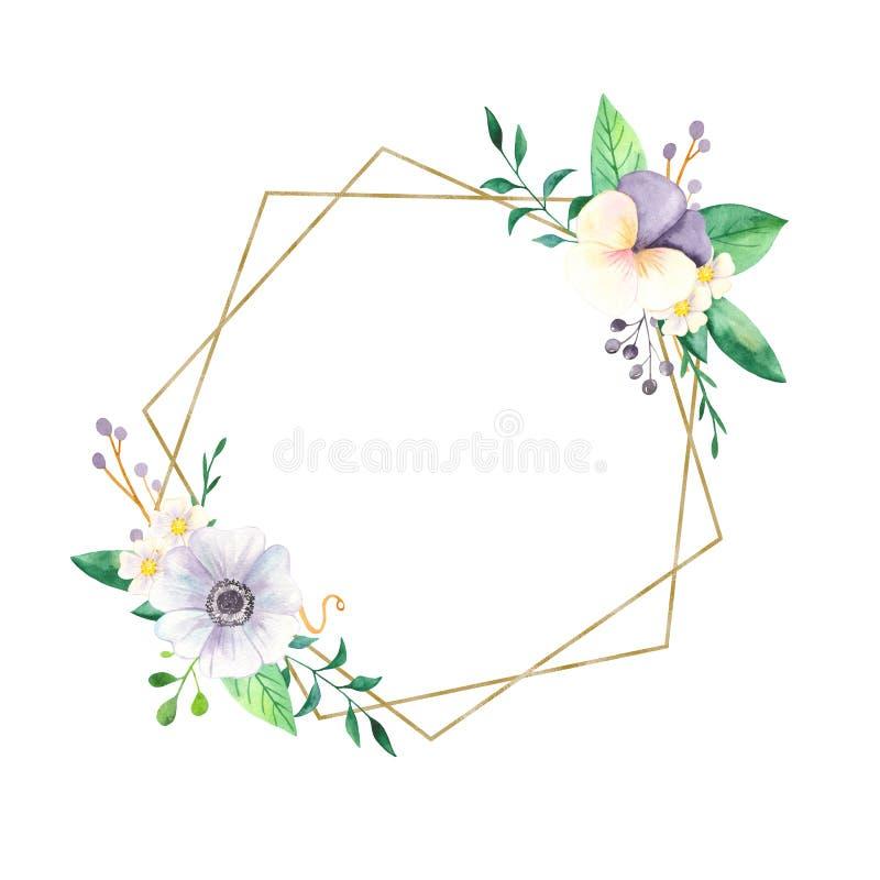 Fiori dell'acquerello delle viole del pensiero, degli anemoni e di un telaio geometrico dorato illustrazione di stock