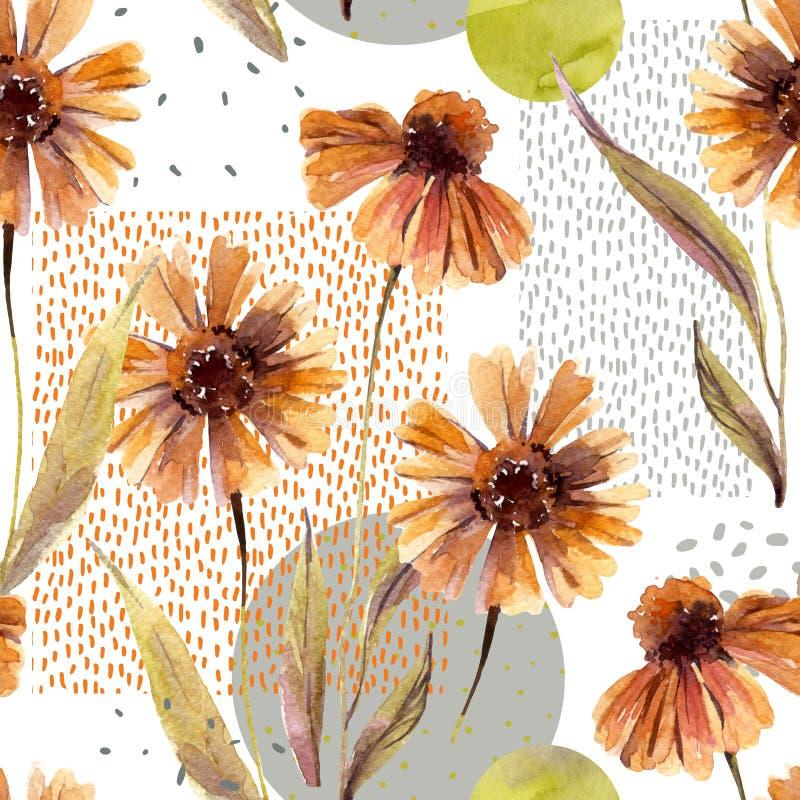 Fiori dell'acquerello e foglie, cerchio, forme quadrate, strutture minime di scarabocchio illustrazione vettoriale