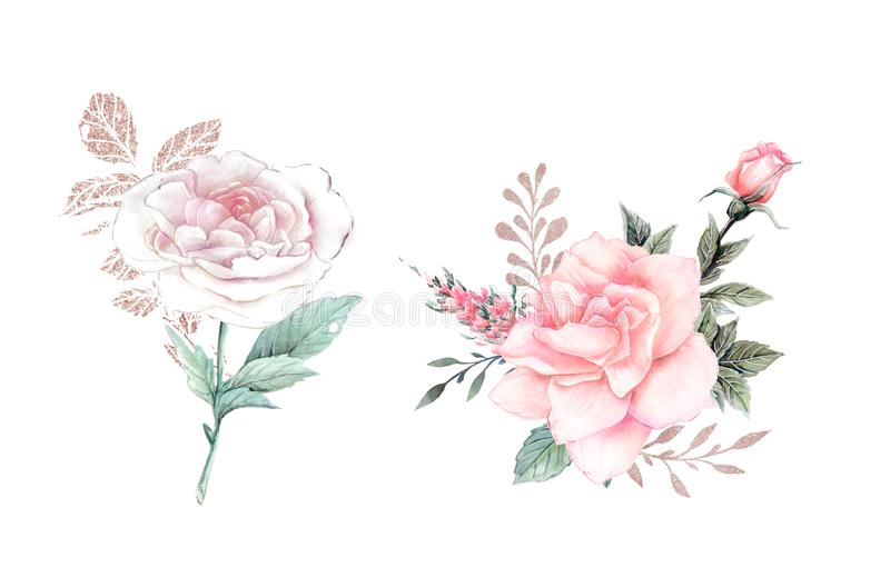Fiori dell'acquerello illustrazione, foglia e germogli floreali Composizione botanica per la cartolina d'auguri o di nozze illustrazione di stock