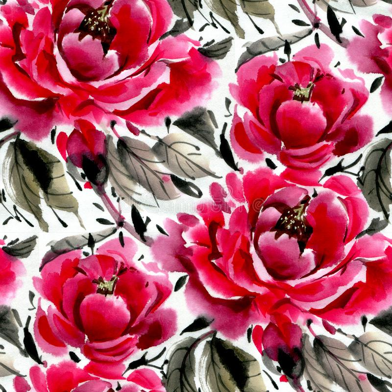Fiori dell'acquerello peonies royalty illustrazione gratis
