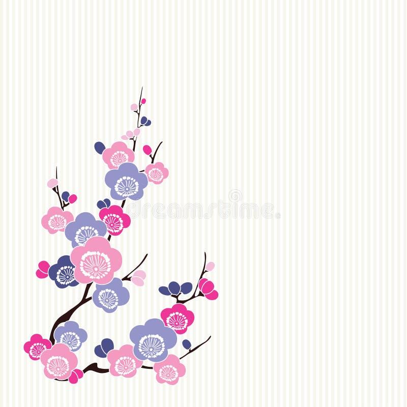 Fiori dell'azzurro e di colore rosa giapponese illustrazione vettoriale