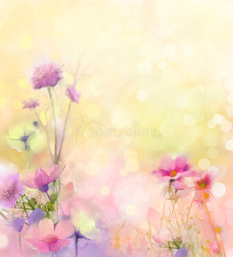 Fiori dell'erba della natura della pittura a olio Fine della pittura della mano sul fiore rosa dell'universo, sulla profondità di royalty illustrazione gratis