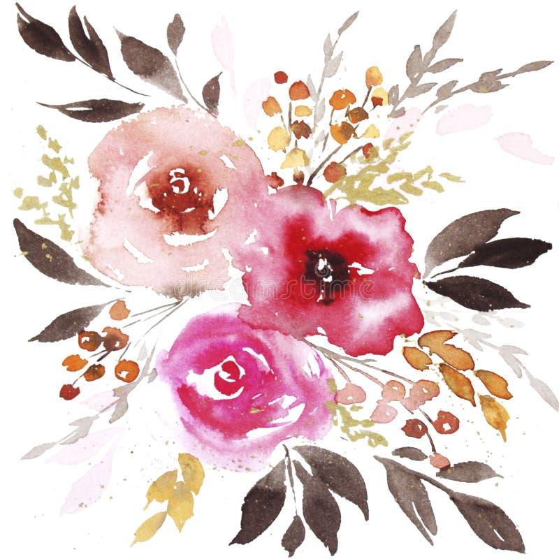 Fiori dell'estratto dell'acquerello della primavera royalty illustrazione gratis