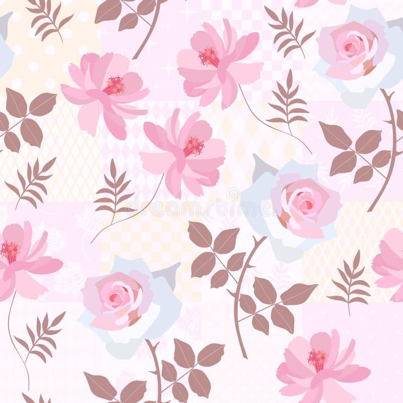 Fiori dell'universo e di Rosa sul fondo della rappezzatura Reticolo floreale senza giunte illustrazione di stock