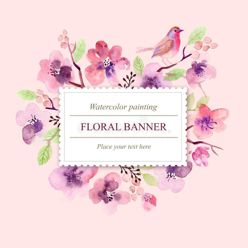 Fiori della cartolina d'auguri dell'acquerello handmade Fondo di congratulazioni Scheda dei fiori illustrazione vettoriale