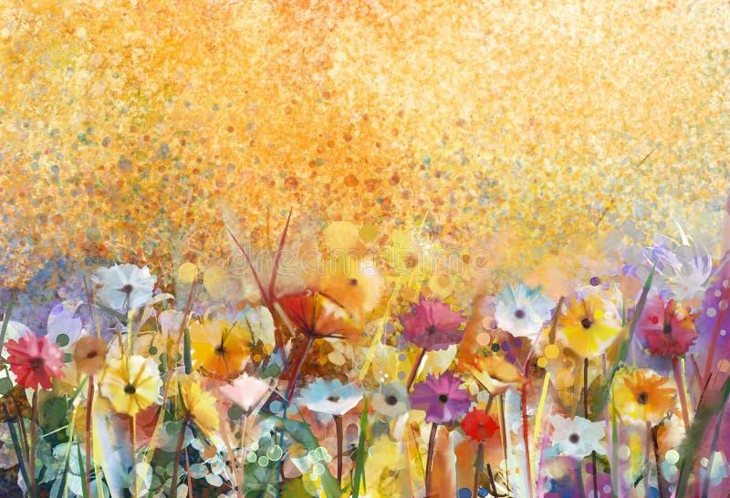 Fiori della pittura dell'acquerello e foglie verdi molli royalty illustrazione gratis