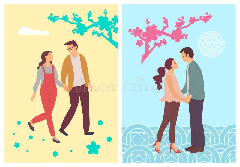 Fiori della primavera, studenti astratti nell'amore, la gente illustrazione vettoriale