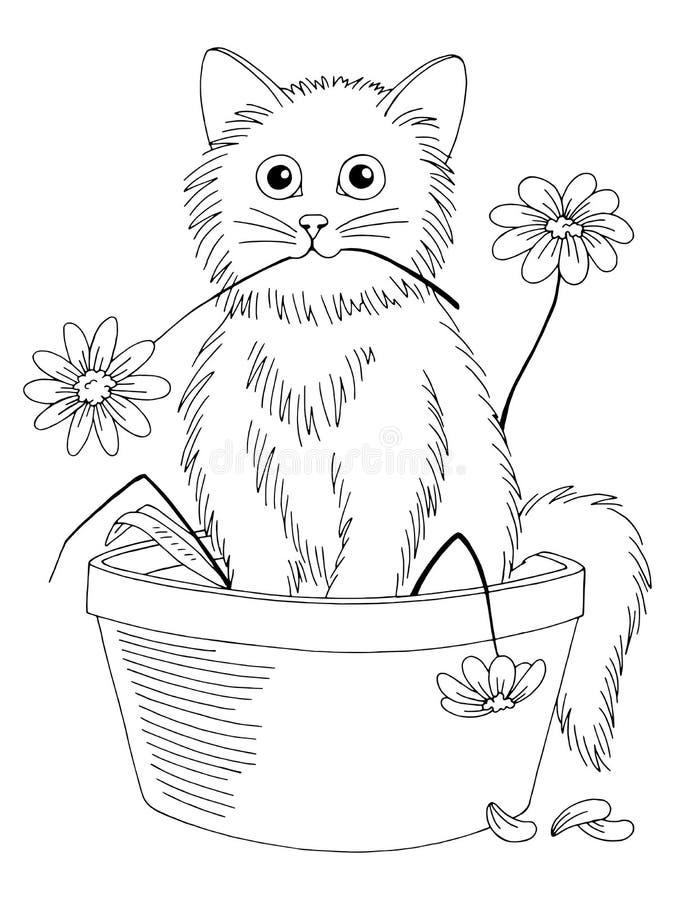 Fiori della rottura del gattino e sedersi nel vettore isolato bianco nero grafico dell'illustrazione di schizzo del vaso royalty illustrazione gratis