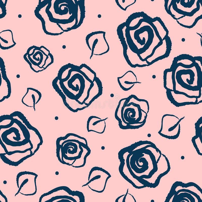Fiori delle rose e delle foglie estratte a mano Reticolo senza giunte floreale illustrazione vettoriale