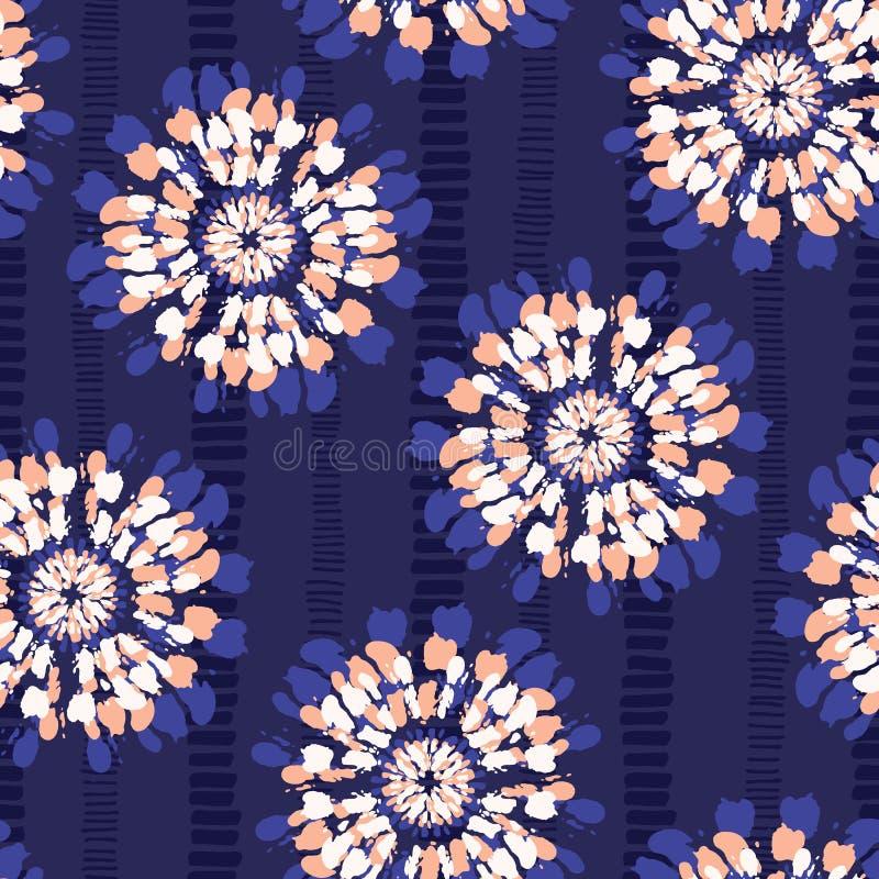 Fiori di Boho Coral Tie-Dye Shibori Mirrored Sunburst sul modello senza cuciture di vettore a strisce del fondo dell'indaco royalty illustrazione gratis