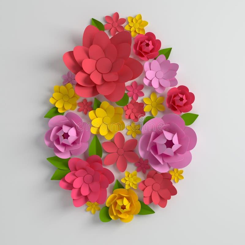 Fiori di carta variopinti e foglie, forma dell'uovo di Pasqua 3d rendono nei colori pastelli, fondo di carta moderno della molla  royalty illustrazione gratis