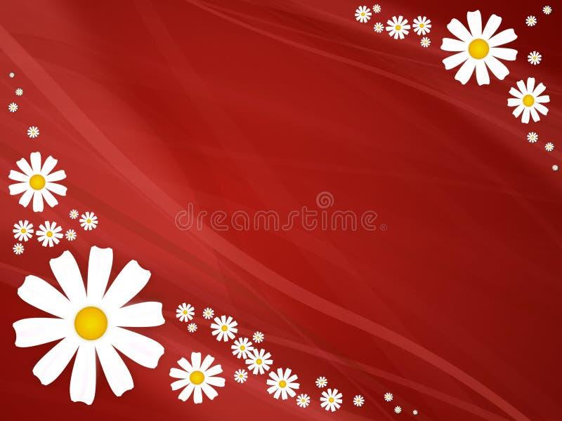 Fiori di estate su colore rosso illustrazione vettoriale