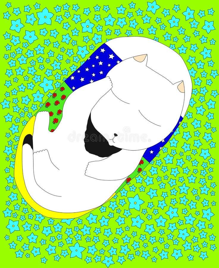 Fiori di Kitten Sleeping Among The Blue illustrazione vettoriale
