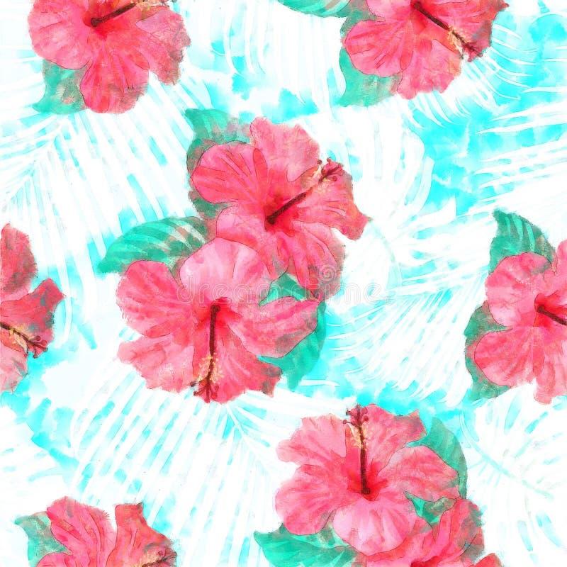 Fiori di lerciume della cartolina di saluto retro e palma tropicali esotici L illustrazione di stock