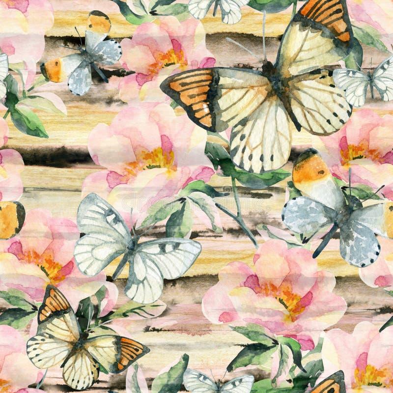 Fiori di rovo dell'acquerello e modello senza cuciture della farfalla Rami della rosa canina nello stile d'annata illustrazione vettoriale