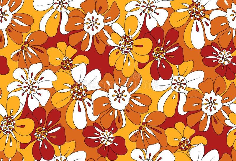 Fiori di sovrapposizione del modello floreale arancio e giallo immagine stock libera da diritti