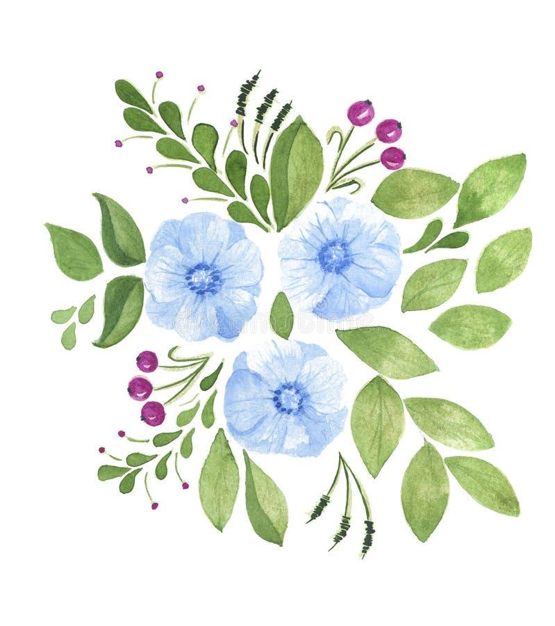 Fiori dipinti a mano dell'acquerello con le foglie verdi isolate su bianco royalty illustrazione gratis