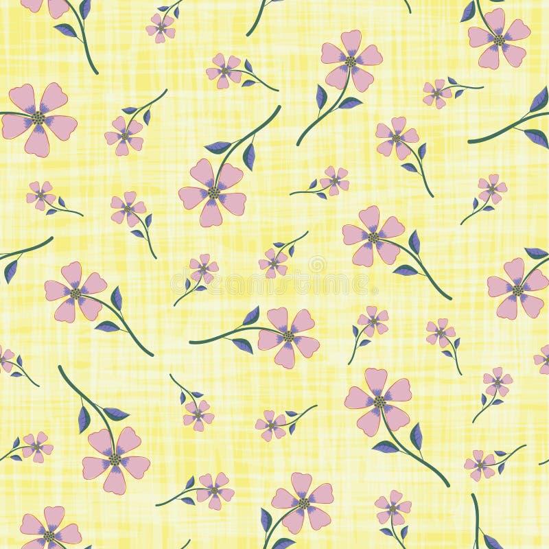 Fiori disegnati a mano della bella viola delicata sul fondo giallo strutturato di stile dell'acquerello Reticolo senza giunte di  illustrazione di stock