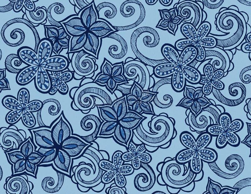 Fiori disegnati a mano su fondo blu con i riccioli ed i turbinii illustrazione vettoriale