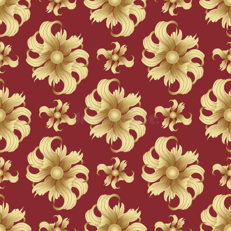 Fiori dorati astratti, modello senza cuciture Germogli dorati, petali arricciati su un fondo rosso Ornamento del gioiello Progett royalty illustrazione gratis