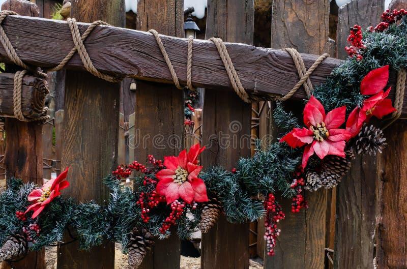 Fiori e alberi per decorazione di Natale sulla chiusura delle recinzioni di legno immagine stock libera da diritti