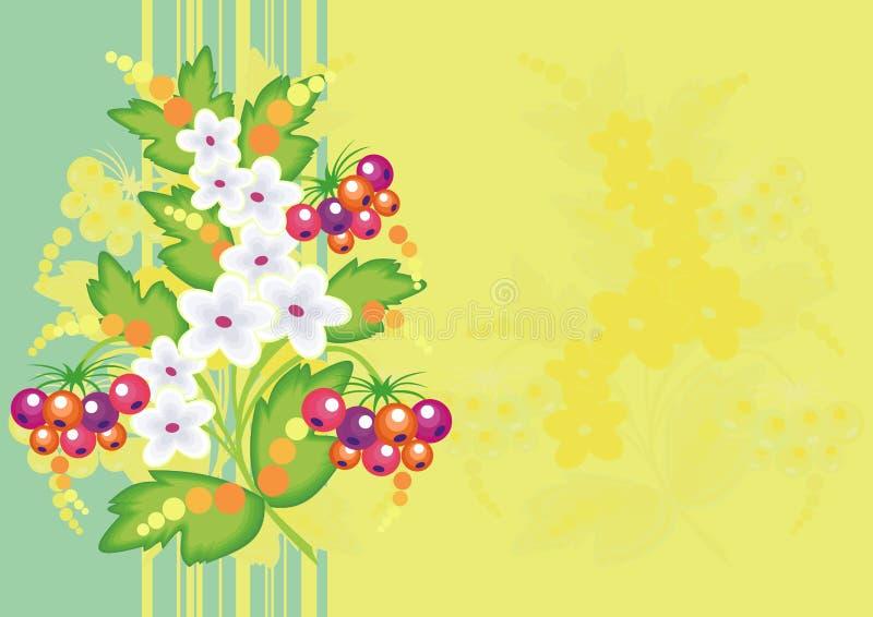 Fiori e bacche astratti con fondo illustrazione di stock
