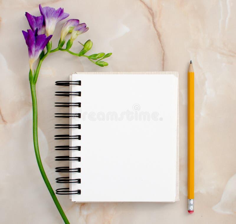 Fiori e blocco note in bianco per fotografia stock libera da diritti