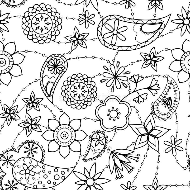 Fiori e coloritura del modello di Paisley illustrazione vettoriale