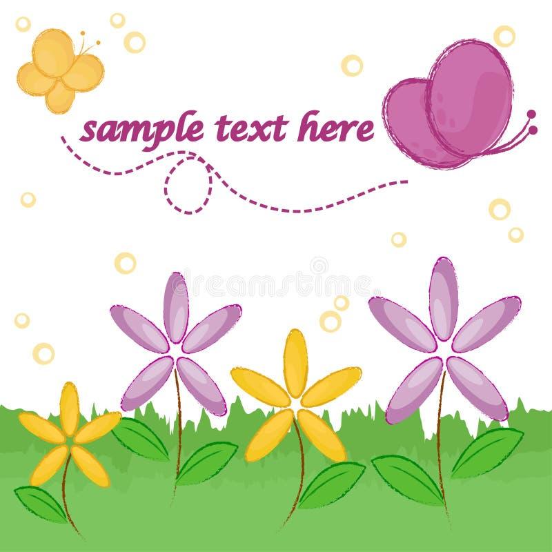 Fiori e farfalle illustrazione di stock