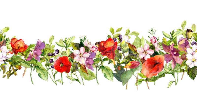 Fiori e farfalle del prato di estate Ripetizione della struttura watercolor illustrazione di stock